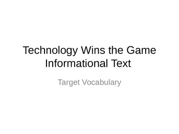 Journeys 3rd Grade Lesson 11 Technology Wins the Game Vocabulary PowerPoint