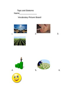 Journeys 3rd Grade Lesson 12 Tops and Bottoms Vocabulary Picture Board