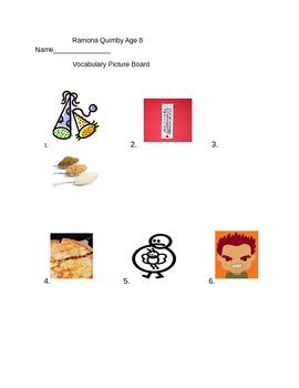 Journeys 3rd Grade Lesson 15 Ramona Quimby Age 8 Vocabulary Picture Board