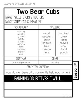 Journeys 3rd Grade Lesson 19 Two Bear Cubs Interactive Notebook