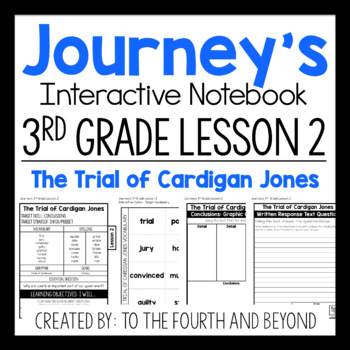 Journeys 3rd Grade Lesson 2 The Trial of Cardigan Jones Interactive Notebook