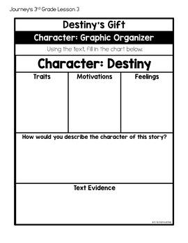 Journeys 3rd Grade Lesson 3 Destinys Gift Less Cutting Interactive Notebook