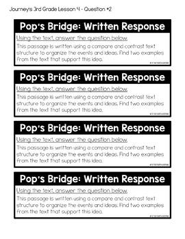 Journeys 3rd Grade Lesson 4 Pops Bridge Less Cutting Interactive Notebook
