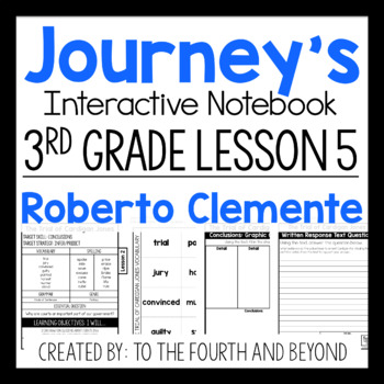 Journeys 3rd Grade Lesson 5 Roberto Clemente Less Cutting Interactive Notebook