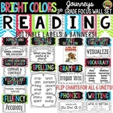 {Bright Colors} Journeys 3rd Grade Reading Focus Wall Set + Newsletters