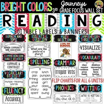 Journeys 3rd Grade Reading Focus Wall Set {BRIGHT COLORS}