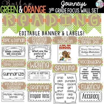 Journeys 3rd Grade Reading Focus Wall Set {BURLAP, GREEN, ORANGE}