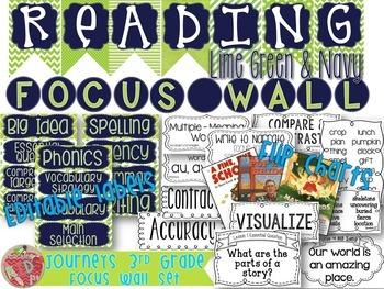 Journeys 3rd Grade Reading Focus Wall Set {LIME GREEN, NAVY}