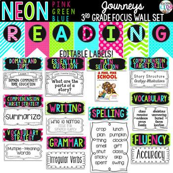 Journeys 3rd Grade Reading Focus Wall Set {NEON}