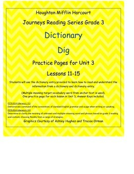 Journeys 3rd Grade Reading Series: Dictionary Skills Unit 3