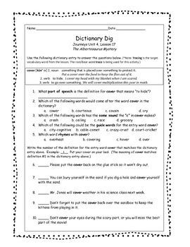 Journeys 3rd Grade Reading Series: Dictionary Skills Unit 4