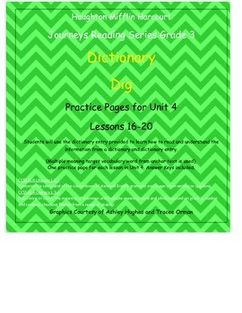 Journeys 3rd Grade Reading Series: Dictionary Skills Unit 4