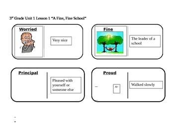 "Journeys 3rd Grade Reading Series Vocabulary Dominoes ""A Fine, Fine School"""