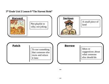 "Journeys 3rd Grade Reading Series Vocabulary Dominoes ""The Harvest Birds"""