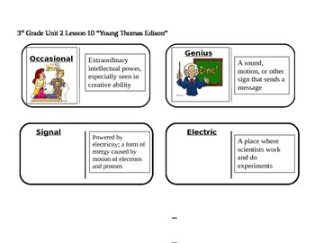 """Journeys 3rd Grade Reading Series Vocabulary Dominoes """"Young Thomas Edison"""""""
