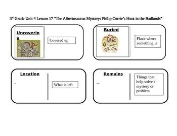"Journeys 3rd Grade Reading Series Vocabulary Dominoes""The Albertosaurus Mystery"""