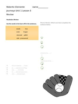 Journeys 3rd Grade Roberto Clemente Lesson Review page