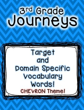 Journeys 3rd Grade Selection and Domain Vocab for Word Wall: Colorful Chevron
