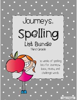 Journeys © 3rd Grade Spelling List and Homework Bundle
