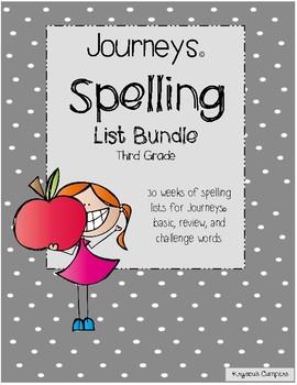 Journeys © 3rd Grade Spelling Lists