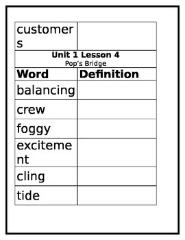 Journeys 3rd Grade Target Vocabulary Tracer without defintions