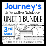 Journeys 3rd Grade UNIT 1 BUNDLE Less Cutting Interactive Notebook
