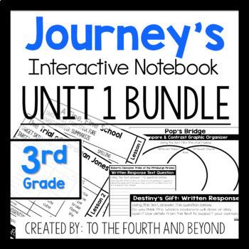 Journeys 3rd Grade UNIT 1 BUNDLE Less Cutting Interactive Notebook