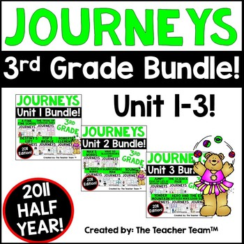 Journeys 3rd Grade Unit 1-3 Half Year Supplemental Activities & Printables 2011
