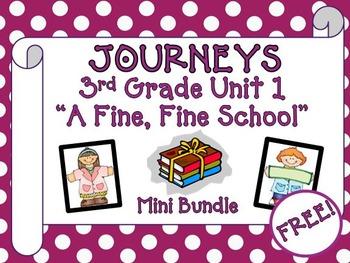"Journeys Aligned 3rd Grade Unit 1 ""A Fine, Fine School"" Mini Bundle"