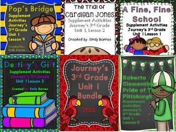 Journeys 3rd Grade Unit 1 Bundle Supplement Activities