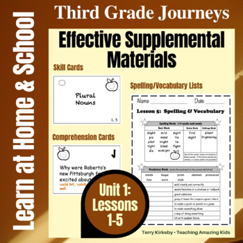 Journeys 3rd Grade - Unit 1 Student Study Guides & Activities for Lessons 1-5
