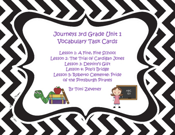 Journeys 3rd Grade Unit 1 Vocabulary Task Card Bundle