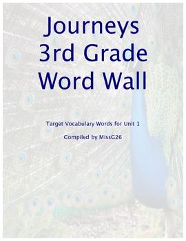 Journeys 3rd Grade Unit 1 Word Wall