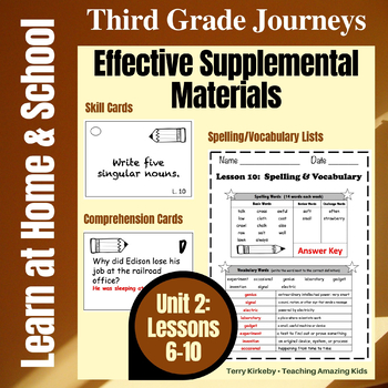 Journeys 3rd Grade - Unit 2 Student Study Guides & Activities for Lessons 6-10