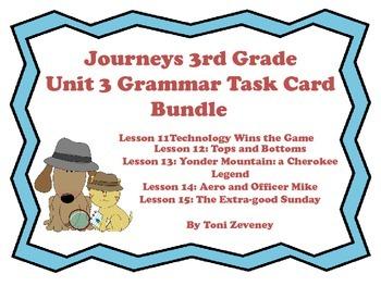 Journeys 3rd Grade Unit 3 Grammar Task Card Bundle