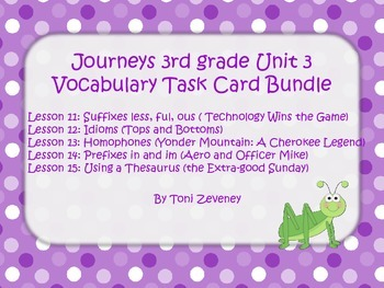 Journeys 3rd Grade Unit 3 Vocabulary Task Card Bundle