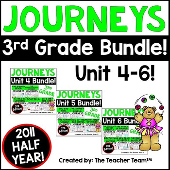 Journeys 3rd Grade Unit 4-6 Half Year Supplemental Activities & Printables 2011