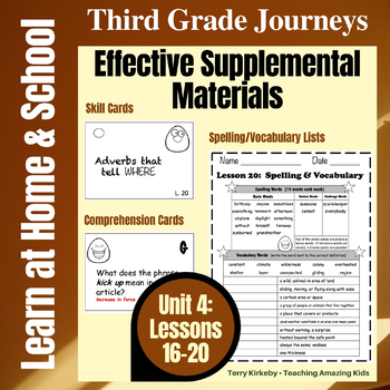 Journeys 3rd Grade - Unit 4 Student Study Guides & Activities for Lessons 16-20