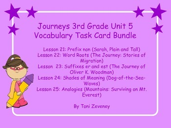 Journeys 3rd Grade Unit 5 Vocabulary Task Cards Bundle