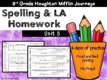 Journeys 3rd grade Homework Unit 5 (Lessons 21-25)