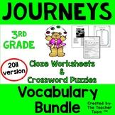 Journeys 3rd Grade Cloze Worksheet Crossword Puzzle Bundle 2011 (Full Year)