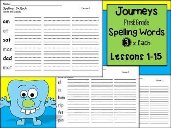 Journeys 3x Each Lessons 1-30- Spelling Words Bundle