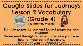 Journeys 4.2 Vocabulary Google Slides, Interactive for Students/Editable for You