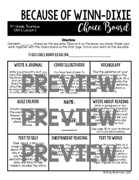 Journeys 4th Grade Choice Boards - Unit 1