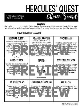Journeys 4th Grade Choice Boards - Unit 4