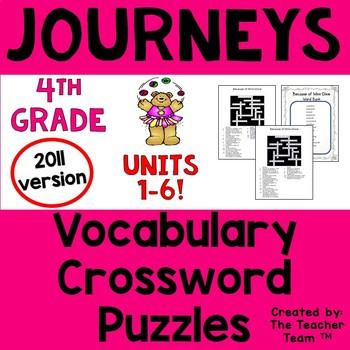 Journeys 4th Grade Crossword Puzzle Bundle Units 1-6 Full Year 2011