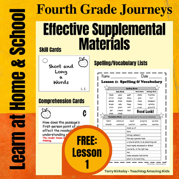 FREEBIE! Journeys 4th Grade - Student Study Guide & Activities for Lesson 1