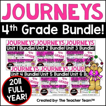 Journeys 4th Grade Reading Language Arts Units 1 - 6 Full Year Bundle 2011