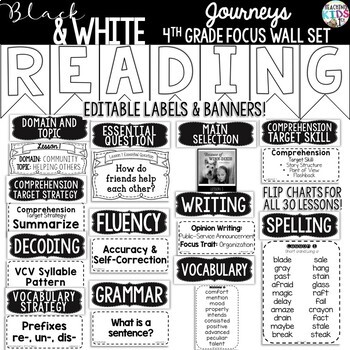 Journeys 4th Grade Reading Focus Wall Set {BLACK & WHITE}