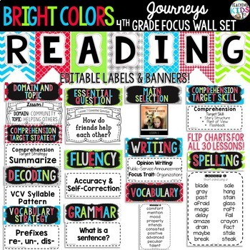 Journeys 4th Grade Reading Focus Wall Set {BRIGHT COLORS}